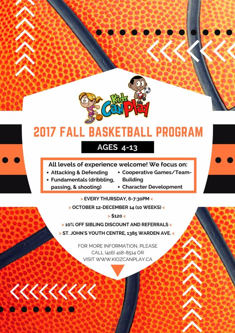 Basketball Fall Sports Program for Ages 4-13
