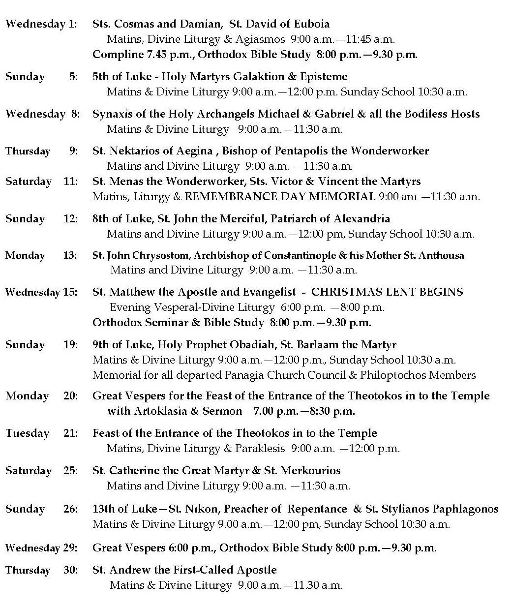 November Church Schedule for Panagia (Toronto)